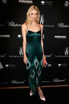 Jamie King wearing an emerald green dress // #Style #Silk #Blonde