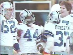 Center JOHN FITZGERALD (62), running backs ROBERT NEWHOUSE (44) and TONY DORSETT (33) and tackle PAT DONOVAN (67)--NFC Divisional Playoff-January 4, 1981