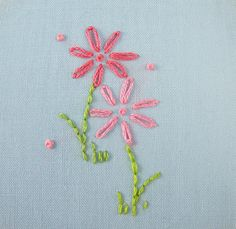 Hand-Embroidered Lazy Daisy