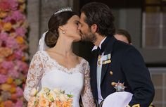 After the wedding of Prince Carl Philip (Carl Philip Edmund Bertil) (13 May 1979-living2015) Duke of Värmland, Sweden & Sophia Hellqvist (Sofia Kristina Hellqvist) (6 Dec 1984-living2015) Sweden on 13 Jun 2015 they delighted the waiting crowd outside the church by sharing their 1st kiss as husband & wife. Photo by Getty Images in hellomagazine.com