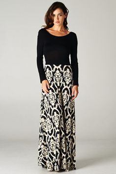 Damask Print Maxi Skirts - available in many colors S-3XL!  I really like how this looks, I would wear this!