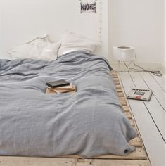 French Washed Linen Bed Linen collection - BLUE GREY