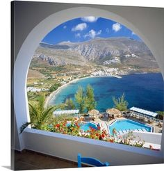 Greece, Cyclades, Amorgos, Aegialis Hotel, view towards the sea