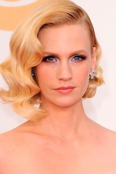 Pretty Bridal Hairstyles for Every Bride  January Jones' Short Curly Hairstyle