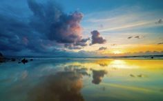 Preview wallpaper clouds, sky, sea, reflection, mirror, evening