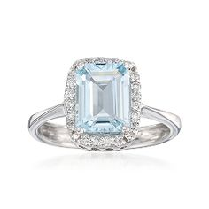 1.80 Carat Aquamarine and .20 ct. t.w. Diamond Ring in 14kt White Gold