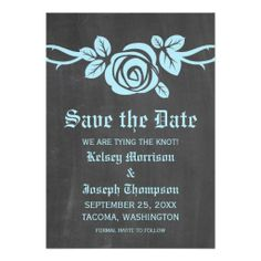 Blue Rose Chalkboard Save the Date Invite