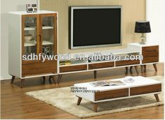 korean style solid wood tv cabinet for living room
