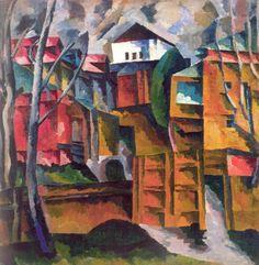 Аристарх Васильевич Лентулов Пейзаж с белым домом и желтыми воротами