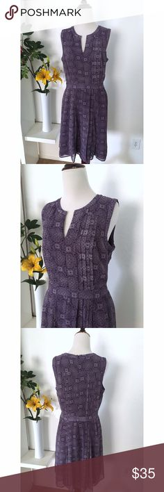 """Violet paisley prints pleated dress Length-38"""" Bust-38""""  Like new condition. High quality and fully lined. Dresses"""