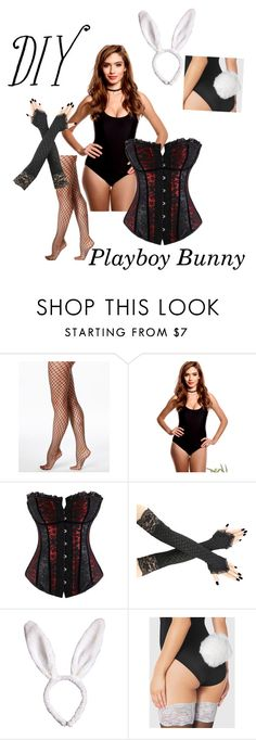 """""""DIY Playboy Bunny Costume"""" by saramae95 ❤ liked on Polyvore featuring Hue and La Senza"""