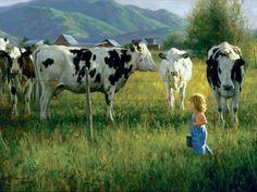 ♥Art by Robert Duncan♥ - Anniken and the Cows.