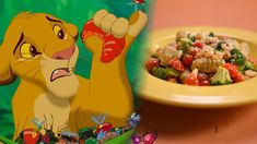 Simba's Slimy Yet Satisfying Grub Gnocchi - Disney Dishes! They have other recipes from lightning mcqueen, belle, nemo, and cinderella, too! Lion King Theme, Lion King Party, Lion King Birthday, 3rd Birthday, Disney Inspired Food, Disney Food, Disney Recipes, Disney Snacks, Kid Snacks