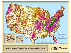 Active Mining Operations by Commodity in the United States.