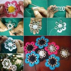 crochet pull tab off can of drink snowflake ornaments