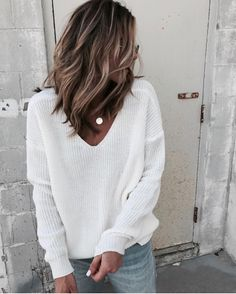 Basics with a twist. Love the back detail on this sweater from @chicwish and I linked the pretty lace bra I wear with it. http://liketk.it/2tqlB #liketkit @liketoknow.it #LTKunder50 #chicwish #partner