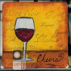 """Cheers"" 4"" X 4"" Coaster by Tracy Weinzapfel Studios"