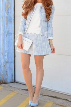Marshalls Project Fab:         My love for baby blues continues with this adorable tweed set. I paired it with a scalloped tank that I picked up at Marshalls and kept the look monochromatic with blue pumps. By: Tara, Project Fab �Personal Blog: Jimmy Choos