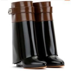 Genuine Leather colorblock fold over boots Patent leather colorblock boots black and brown. Wedge heel. Great boots! New, never worn. Shoes Ankle Boots & Booties