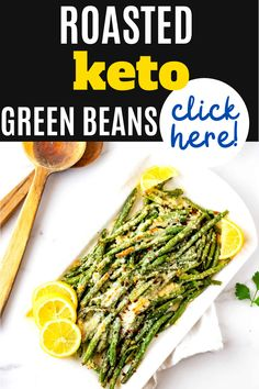This low carb vegetable that you can make on the weekend for meal prep is PERFECT for my keto diet. I am so happy I found this Roasted Green Beans recipe. Is is easy to make and SO full of flavor. #keto #kickingcarbs #lowcarb #dinner #healthy #greenbeans #vegetables #recipe