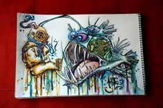 alister dippner watercolor painting deep sea fish monster diver beast creature horror cartoon