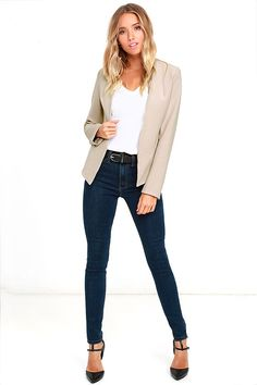 """Grab your coffee, our Moment's Notice Light Taupe Cropped Blazer, and you're out the door! Chic and versatile, this tailored blazer has a medium-weight poly-blend construction shaping a collarless open front that follows princess seams to pointed front hems. Long fitted sleeves. Lightly padded shoulders. Fully lined. Coat measures 4"""" longer at front. 75% Polyester, 20% Rayon, 5% Spandex. Hand Wash Cold."""