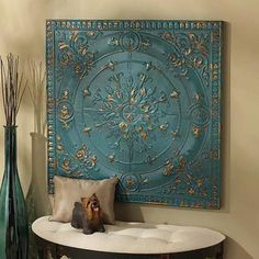 Viennese Pressed Metal Ceiling Tile Wall Sculpture $199.00
