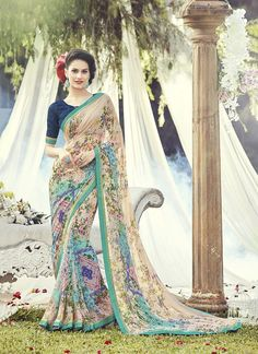 Online shopping for latest collection of designer saree. Buy this gleaming print work multi colour casual saree for festival and party.