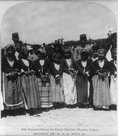 Peasant girls at the Easter Festival, Megara, Greece H. White CO Greek Traditional Dress, Easter Festival, Old Greek, Greece Photography, France 3, Greek History, Still Picture, Photographs Of People, Library Of Congress