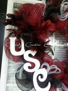 Hey, I found this really awesome Etsy listing at https://www.etsy.com/listing/198745989/south-carolina-gamecock-wreath-college