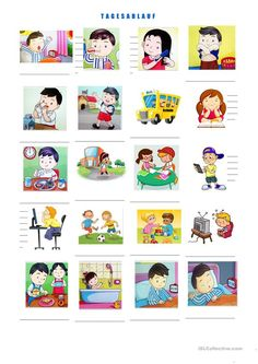 Daily routine in pictures- Tagesablauf in Bildern Daily routine in pictures - Kinder Routine-chart, Teaching Kids Respect, Daily Routine Chart, Kids Schedule, Pediatric Ot, Free To Use Images, Charts For Kids, Gifts For Office, Baby Shower Fun