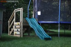 Free and easy, step-by-step, DIY plans to build an outdoor wood plank loveseat with reclaimed wood. No woodworking experience required. Trampoline Steps, Backyard Trampoline, Backyard Playground, Backyard For Kids, Backyard Slide, Trampolines, Outdoor Play, Outdoor Living, Stair Slide