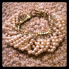 J crew pearl gold bracelet bangle J crew pearl and gold bracelet. No tags but never worn. J. Crew Jewelry Bracelets