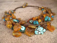 Honey Baltic Amber Turquoise Necklace from DreamsFactory on etsy