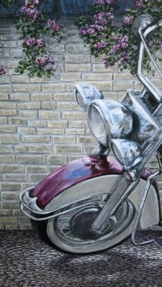 "Here's a detail shot of ""Wild Rose"" 1959 Harley Davidson Panhead available now in canvas transfer from artist Darcy Gerdes"