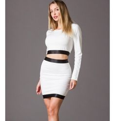 Crop Top Ελαστικό με Μακριά Μανίκια - Λευκό Two Piece Skirt Set, Skirts, Dresses, Fashion, Vestidos, Moda, Fashion Styles, Skirt