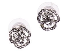 Chanel Camellia Rhinestone Earrings