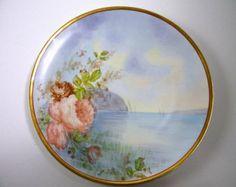 Antique & Co. Haviland Limoges Mano Rosas pintadas en la placa Agua Artista Firmado Berton / Vintage Limoges China Plate