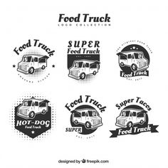 Modern food truck logos with original style Free Vector