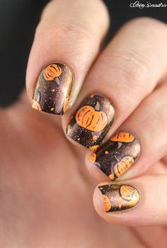 Fall nail art beauty pinterest thanksgiving manicure and makeup pumpkin nail art halloween nails cocosnailss prinsesfo Images