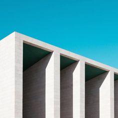 Minimalist architecture on blue background