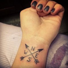 wrist tattoo arrows compass