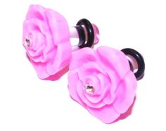 8g 3mm Ear Gauges Cute Girly Plugs Pink Rose by PlugsforGirls, $12.99