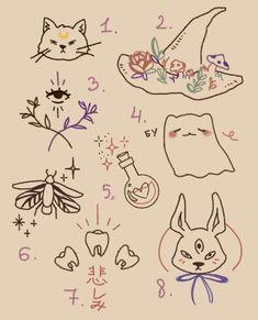 Art Drawings Sketches, Tattoo Drawings, Cute Drawings, Smal Tattoo, Arte Indie, Cute Tats, Kawaii Tattoo, Doodle Tattoo, Aesthetic Tattoo