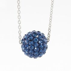 """BirthStone Collection December  $36.00 Montana crystal Ceralun™ pavé ball swings on a delicate rhodium plated chain; 15"""" to 18""""."""