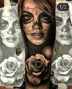 - - Tattoo vorlagen - Tattoo Designs for Women Realistic Tattoo Sleeve, Best Sleeve Tattoos, Tattoo Sleeve Designs, Leg Tattoos, Body Art Tattoos, Tattoos For Guys, Girl Tattoos, Skull Girl Tattoo, Girl Face Tattoo