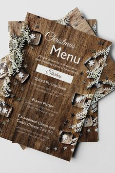 This free Christmas design template is the perfect thing for a rustic restaurant or café looking for marketing materials and printed menus over the holidays. The wooden background paired with white decorations and snowflakes is the perfect contrast and extremely on trend for Christmas 2020. Print your own posters, flyers, menus and stickers in this stunning template range. Online Templates, Design Templates, Christmas Design, Rustic Christmas, Snowflake Template, Rustic Restaurant, Wooden Background, Free Prints, Marketing Materials