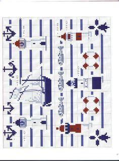 lighthouse and sailing cross stitch