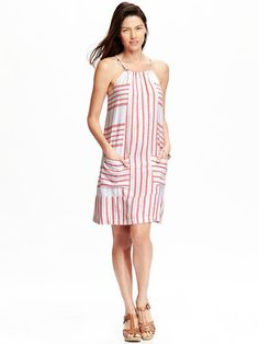 Old Navy Coral White Striped Summer Dress on www.glamdarling.com