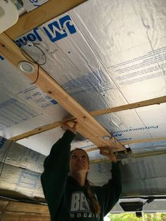 Van Conversion Walls, Van Conversion Build, Basic Electrical Wiring, Insulation Board, Plank Ceiling, Fibreglass Roof, Puck Lights, Ceiling Installation, Vw Bus